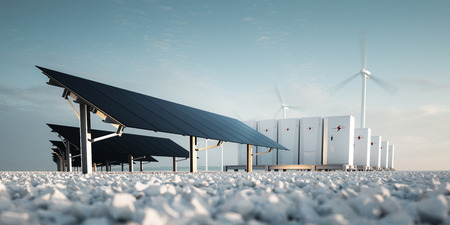 Photo for Concept of renewable energy storage Modern black photovoltacis, modular battery energy storage system and a wind turbine system in the background. 3d rendering. - Royalty Free Image