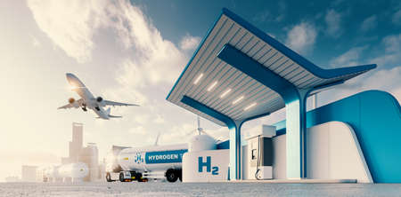 Photo pour Future of hydrogen energy. Hydrogen gas station with truck, jet and city in the background. 3d rendering. - image libre de droit