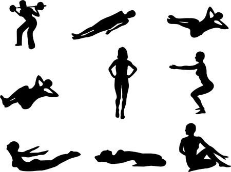 Set of 9 silhouettes of people doing gym exercises, stretching etc