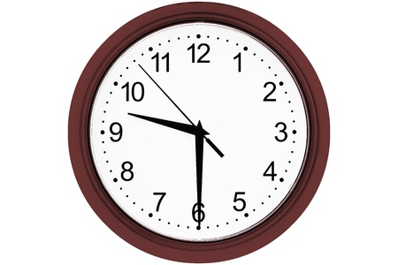 Foto de white clock with figures and with shooters of black color and with a dark cherry-colored rim on a white background isolated by a closeup and date of time 09-30. - Imagen libre de derechos
