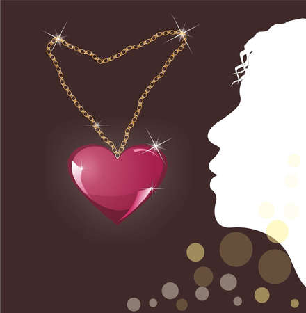 locket heart on a dark background and profile of a young girl