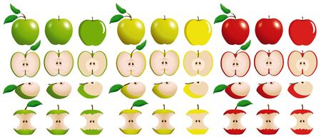 Foto für Set of juicy red, yellow and green apples with slices and bitten apples isolated on white background. - Lizenzfreies Bild