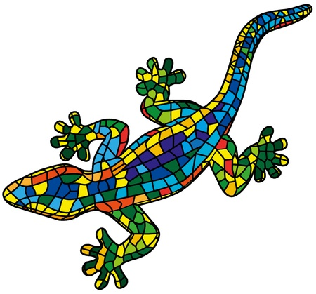 Illustration for Beautiful colored lizard isolated on white background, stylized of mozaic  - Royalty Free Image