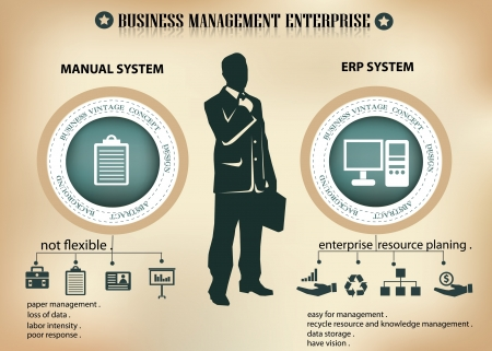 Business man and enterprise planning resource,vector