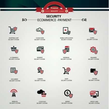 E-commerce, Online shopping, Online payment   Security system icons