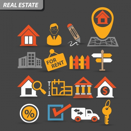Real estate icons,Colorful version,vector