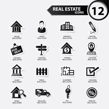 Real estate icons,Black version,vector