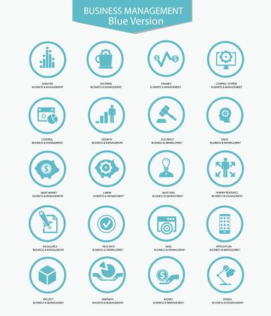 Business Management icons,Blue version,vector