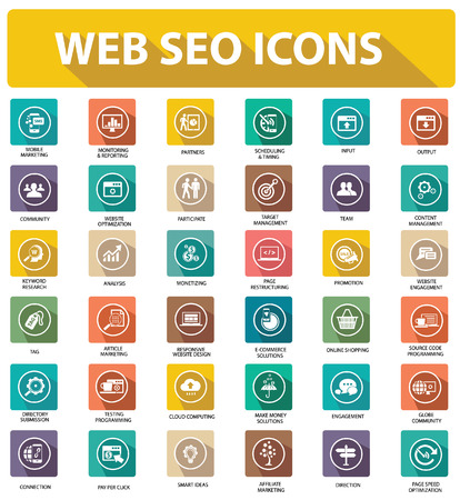 Flat Website seo icons,colorful version