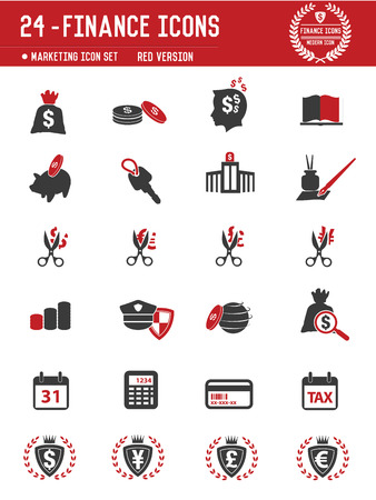 24 Financial icon set on white background,red version,clean vector