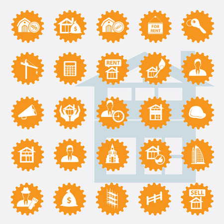 Real estate icon set,orange version,clean