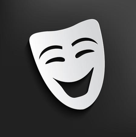 Illustration pour Smile mask symbol on dark background,clean vector - image libre de droit