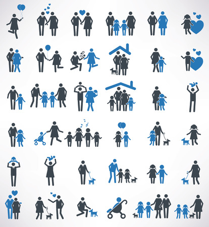 Family icons set,blue version ,clean vector