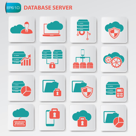 Database and cloud computing icon on button, clean vector