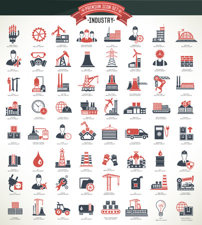 Illustration pour Industryconstruction and engineer icon setred versionclean vector - image libre de droit