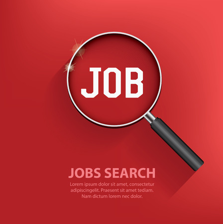 Illustration pour Searching jobs, design on red background. Clean vector. - image libre de droit