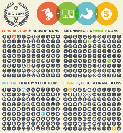 Big icon set,Industry,Construction,Medical,Logistic,Finance and business icon set,clean vector
