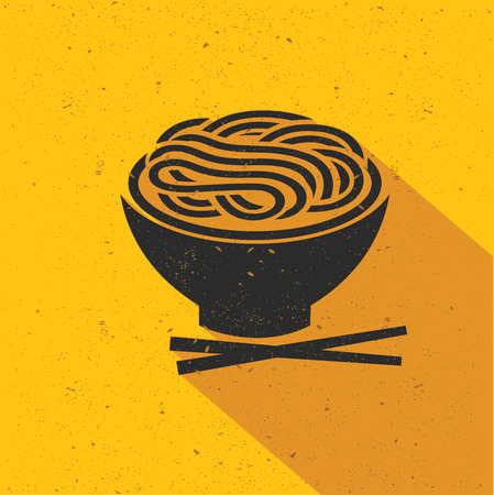 Noodle icon design on yellow background,flat design,clean vector