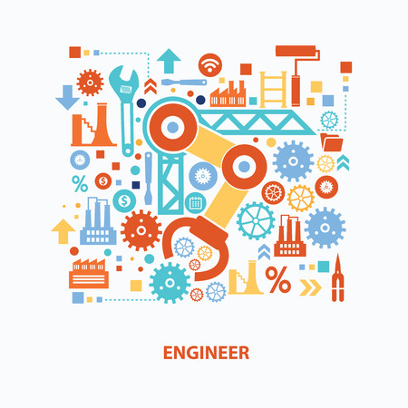 Engineer concept design on white background,clean vector