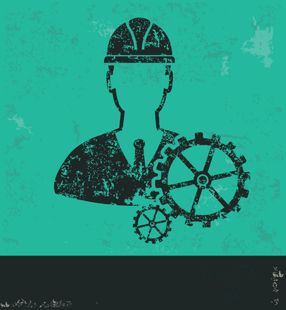 Engineer design on green background,grunge vector