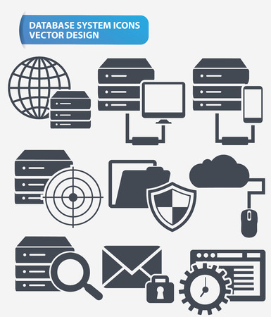 Data,Networking and database server icon set design,clean