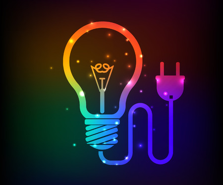 Light bulb,energy design,rainbow concept,clean vector