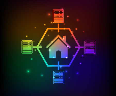 Network.database server design,abstract rainbow concept,clean vector