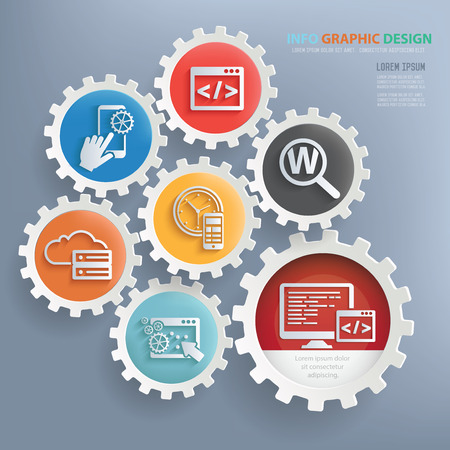 Illustration for Web development and seo design infographic design,clean vector - Royalty Free Image