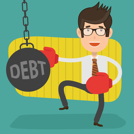 Debt businessman concept vector design with man in boxing gloves punching debt.