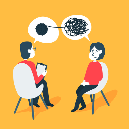 Illustration pour Psychotherapy counseling concept. Psychologist man and young woman patient in therapy session. Treatment of stress, addictions and mental problems. - image libre de droit