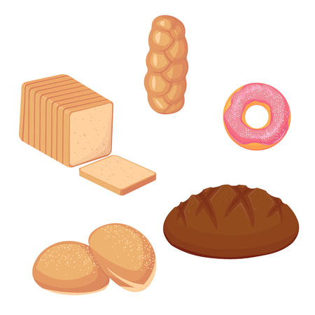 Illustration pour Set of breads and donut. vector illustration isolated on white - image libre de droit