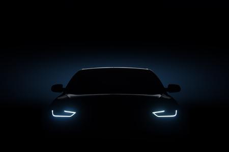 Photo pour Car blue headlights, shape concept art dark - image libre de droit