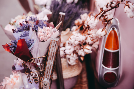 Photo for Movable vintage flower shop. Mobile car store on wheels - Royalty Free Image