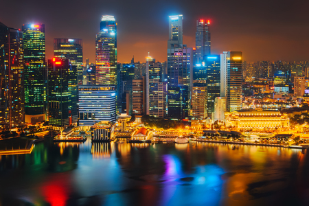 Singapore city skyline. Business district aerial view.