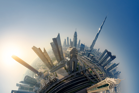 Photo pour Dubai skyline at sunrise, Little Planet effect. panoramic aerial top view to downtown city landmarks. Famous viewpoint, United Arab Emirates - image libre de droit