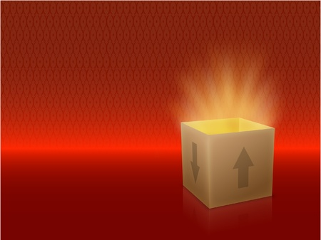 White Box with Lid Revealing Something Very Bright on a red Background