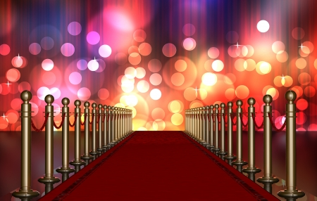 red carpet entrance with the stanchions and the ropes  Multi Colored Light Burst over curtain
