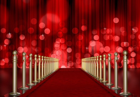 red carpet entrance with the stanchions and the ropes  Red Light Burst over curtain