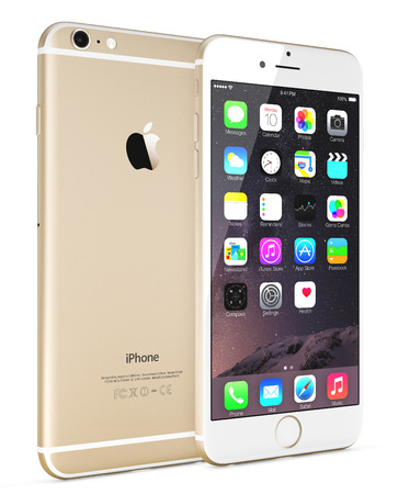 Galati, Romania - September 18, 2014: Apple Gold iPhone 6 Plus showing the home screen with iOS 8.The new iPhone with higher-resolution 4.7 and 5.5-inch screens, improved cameras, new sensors, a dedicated NFC chip for mobile payments. Apple released the iのeditorial素材