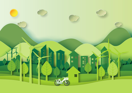 Illustration pour Save the world and environment concept.Eco green city and urban landscape for green energy paper art style.Vector illustration. - image libre de droit
