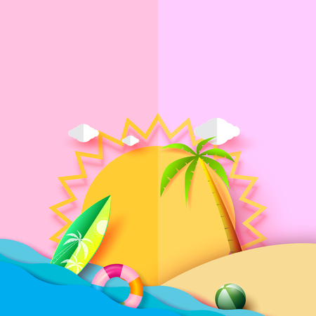 Summer beach background design with sun and related icons.