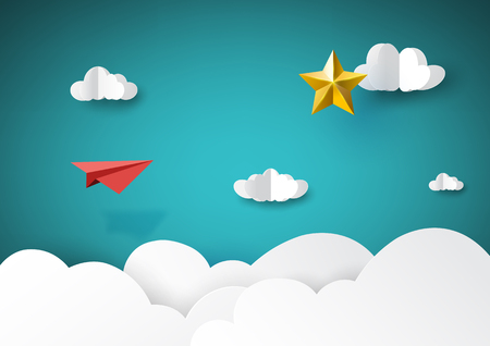 Illustration for Red paper airplane flying to golden star paper art style of business success creative idea concept.Vector illustration. - Royalty Free Image