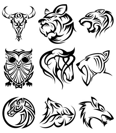 Illustration pour Set of tribal animal head vector icon symbol for element design on the white background. Collection of animal head symbol design template in flat style. Vector illustration - image libre de droit