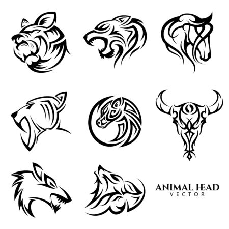 Illustration pour Set of tribal animal head vector icon symbol for element design on the white background. Collection of animal head symbol design template in flat style. - image libre de droit