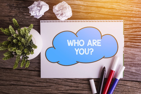 WHO ARE YOU? word with Notepad and green plant on wooden background