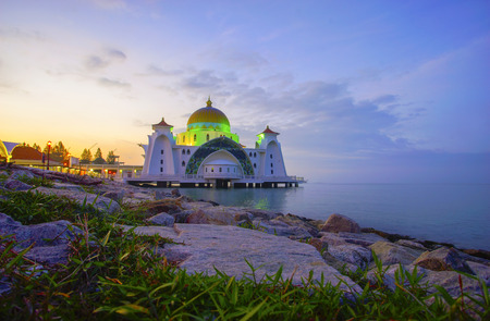 Photo for Malacca Straits Mosque ( Masjid Selat Melaka), It is a mosque located on the man-made Malacca Island near Malacca Town, Malaysia - Royalty Free Image