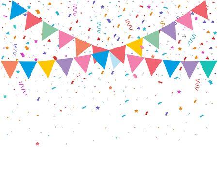 Illustration pour Colorful bright confetti isolated on transparent background. Festive vector illustration - image libre de droit