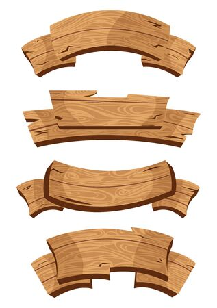 Illustration for Set of wooden banners with decorative elements. Cartoon wooden board  isolated on white background. Vector illustration - Royalty Free Image