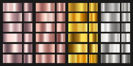 Illustration pour Set of gold, silver, bronze and rose texture backgrounds. Shiny and metalic gradient collection for chrome border, frame. - image libre de droit