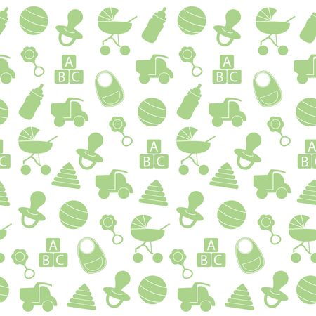 Illustration for Seamless pattern with green baby toys. Vector. Cute background for baby boy, girl shower party, invitation template. Vector illustration - Royalty Free Image